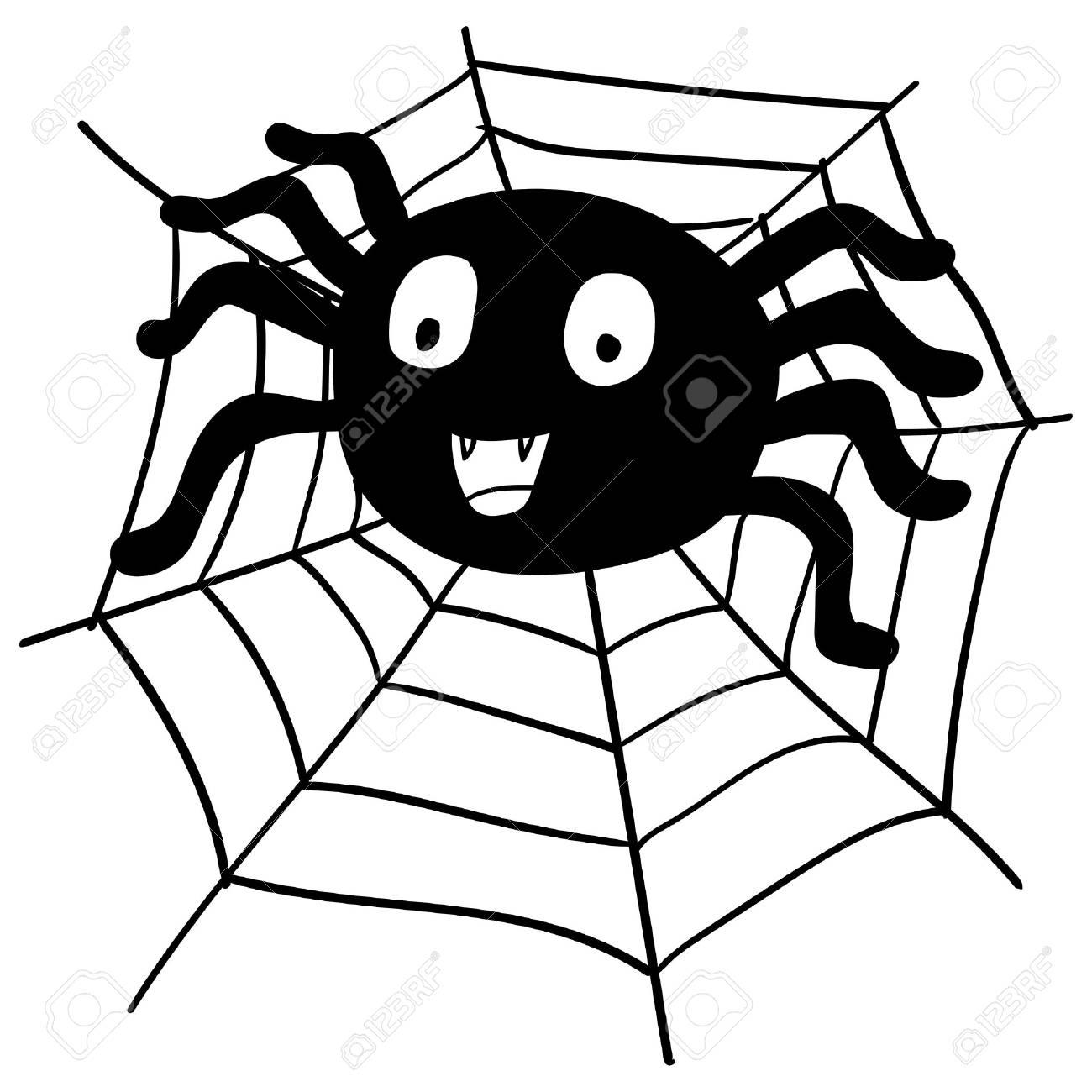 Main, Dessin Toile D'araignée Et Web Pour Le Concept De Halloween, Isolé  Sur Fond Blanc Vector Illustration pour Dessin Toile Araignée