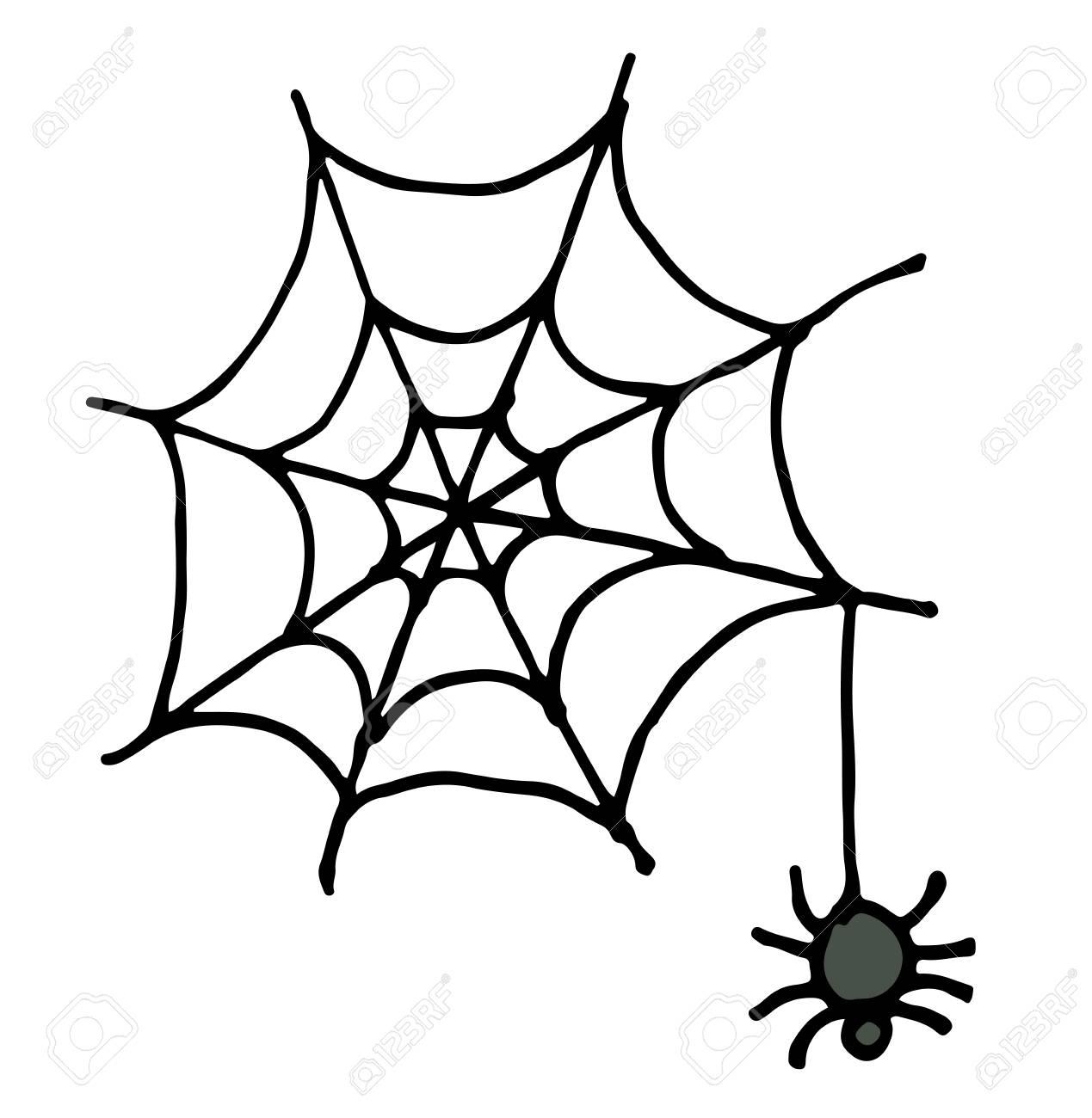 Main Dessiner Croquis, Araignée Et Web Vector Illustration De Doodle. avec Dessiner Une Araignee