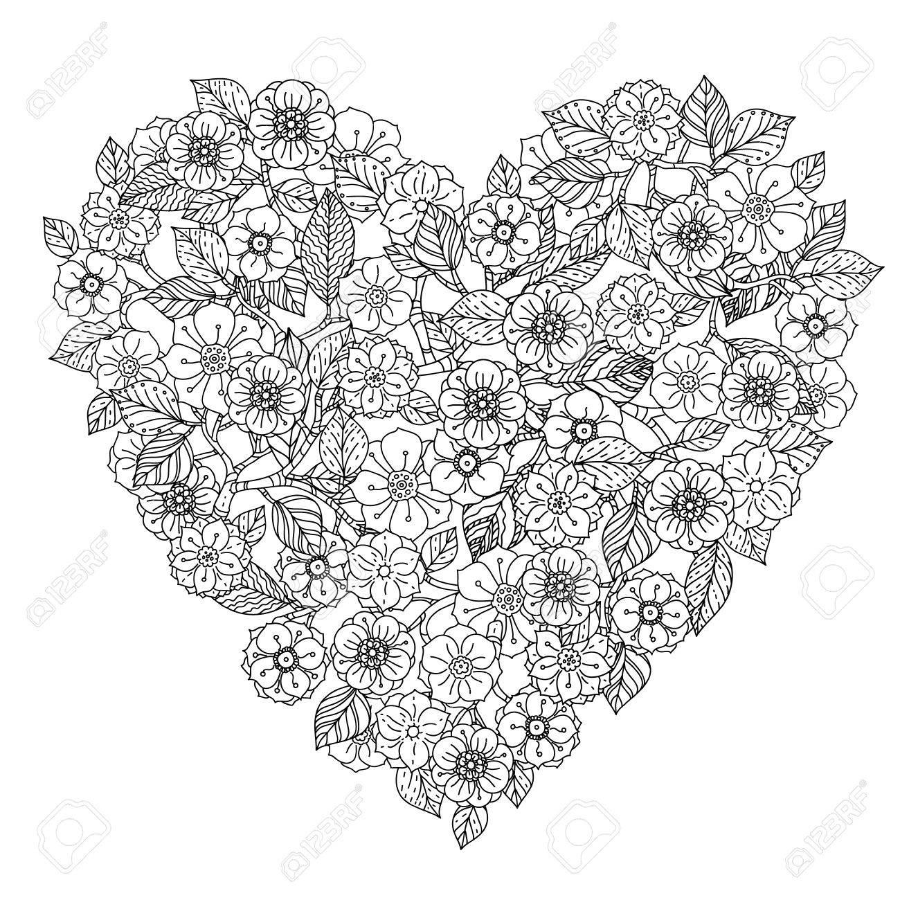Main Élément De Dessin. Noir Et Blanc. Fleur Style Mandala. dedans Dessiner Un Mandala
