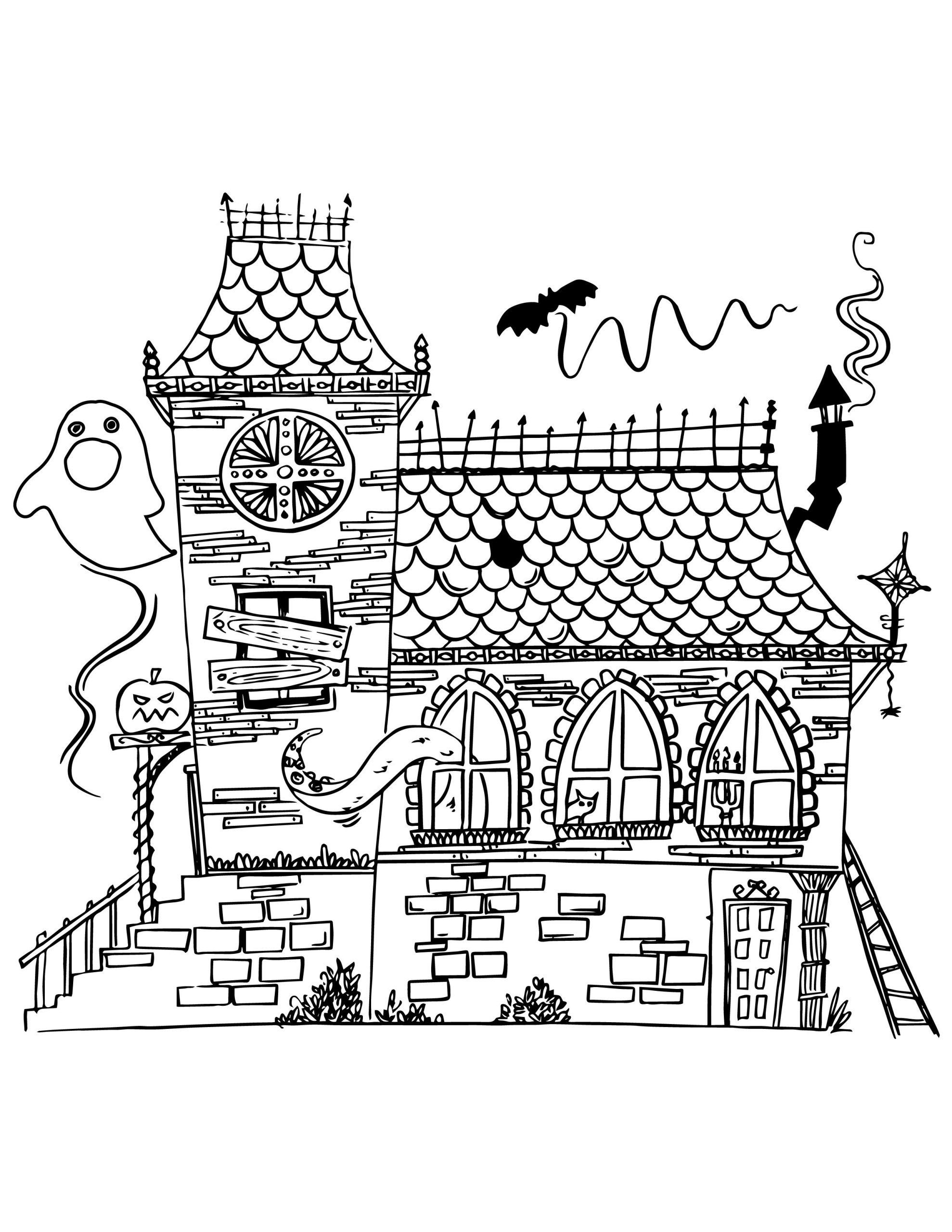 Maison Hantée À Imprimer Et Colorier | Coloring Book Pages tout Trompette À Colorier
