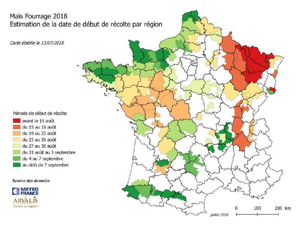 Maiz'europ' Maïs Fourrage : Carte D'estimation Des Récoltes intérieur Carte De France Et Ses Régions