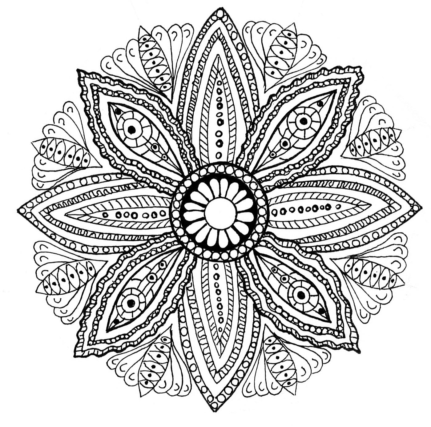 Mandala À Colorier Feuilles - Mandalas Difficiles (Pour dedans Coloriage De Mandala Difficile A Imprimer