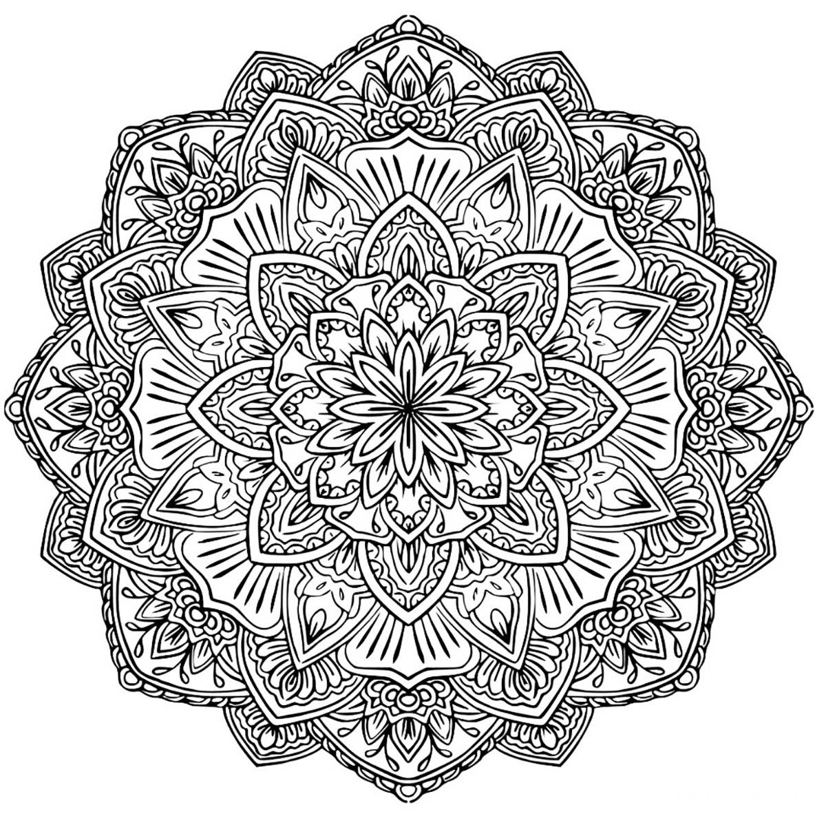 Mandala A Colorier Gratuit Fleurs Difficile - Mandalas ...