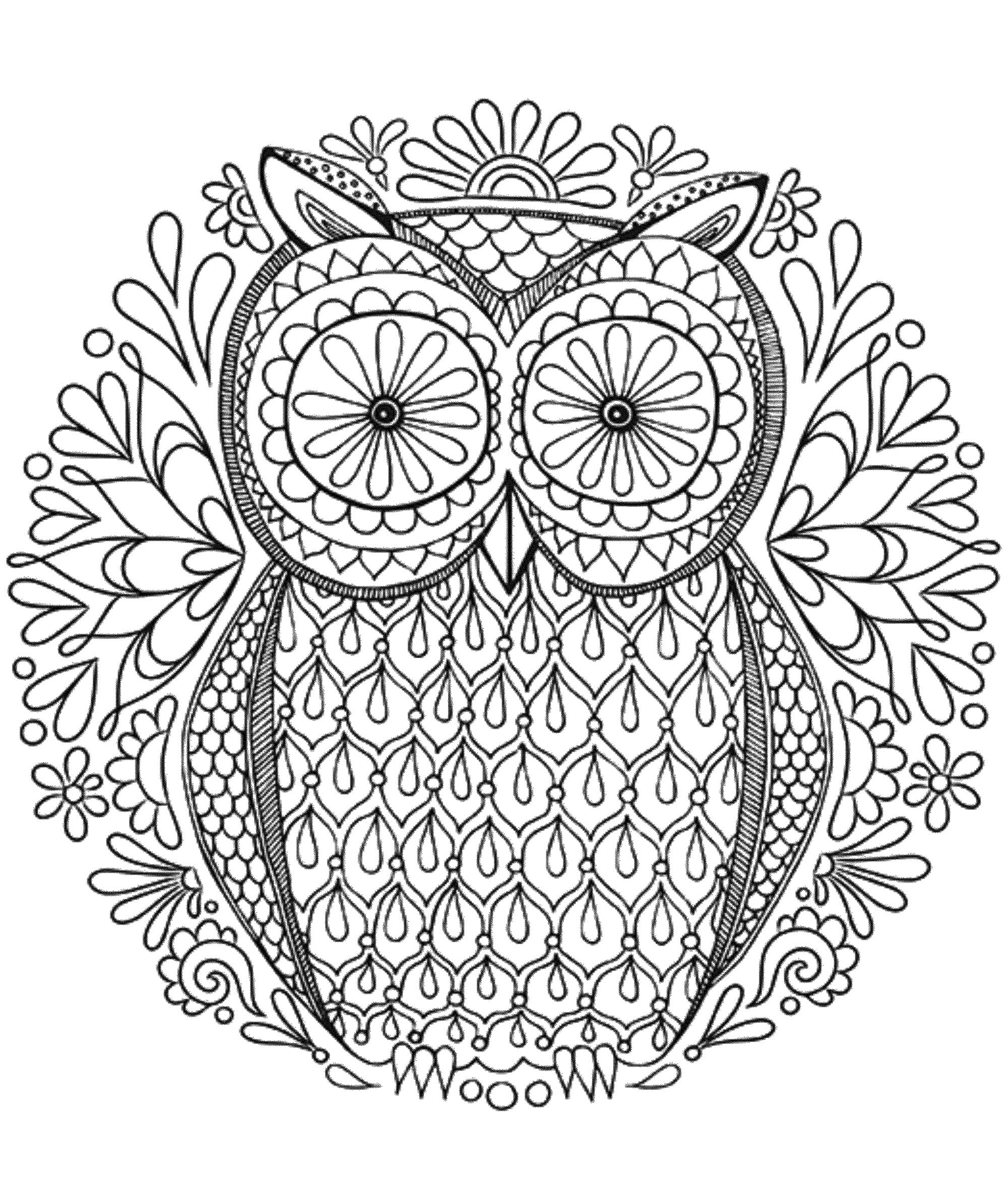 Mandala A Colorier Gratuit Hibou - Mandalas De Difficulté pour Mandala À Colorier Et À Imprimer Gratuit