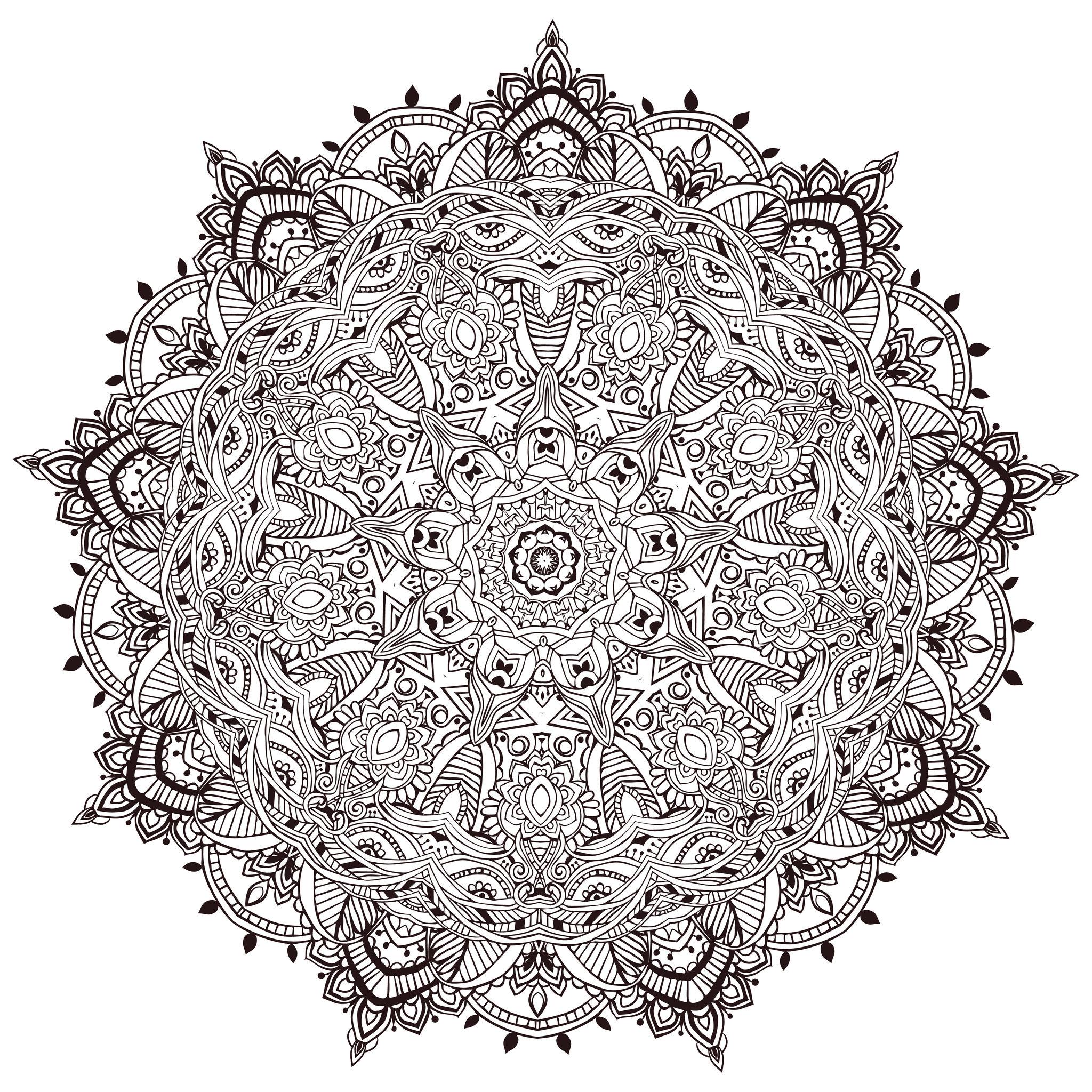 Mandala A Colorier Tres Detaille - Mandalas - Coloriages tout Coloriage De Mandala Difficile A Imprimer
