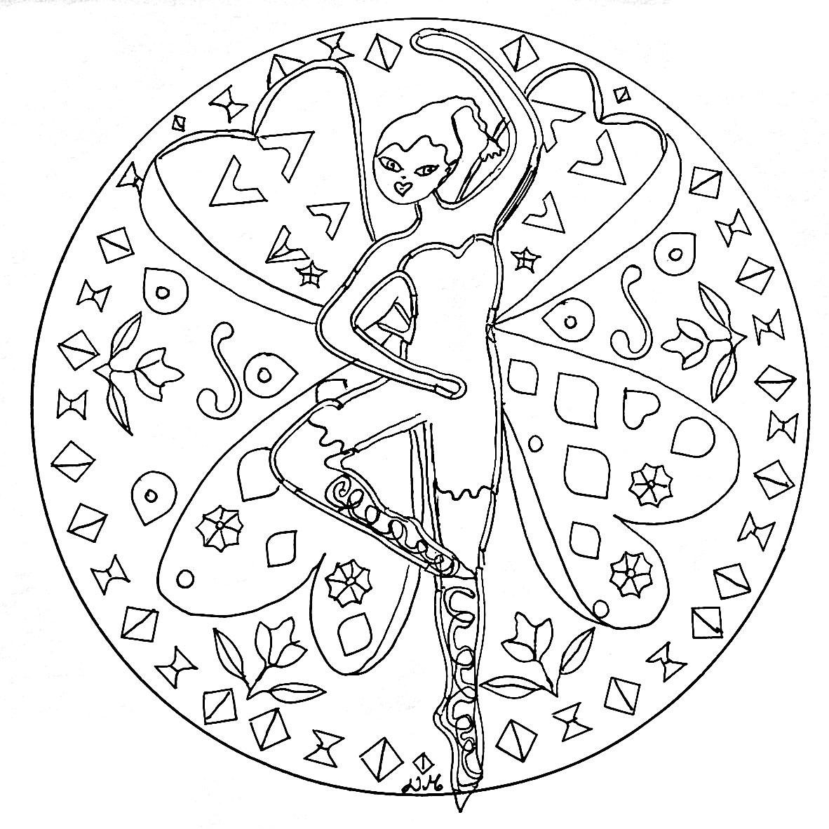 Mandala A Imprimer Fee Dansante - Simple Mandalas - 100 encequiconcerne Mandala Fée
