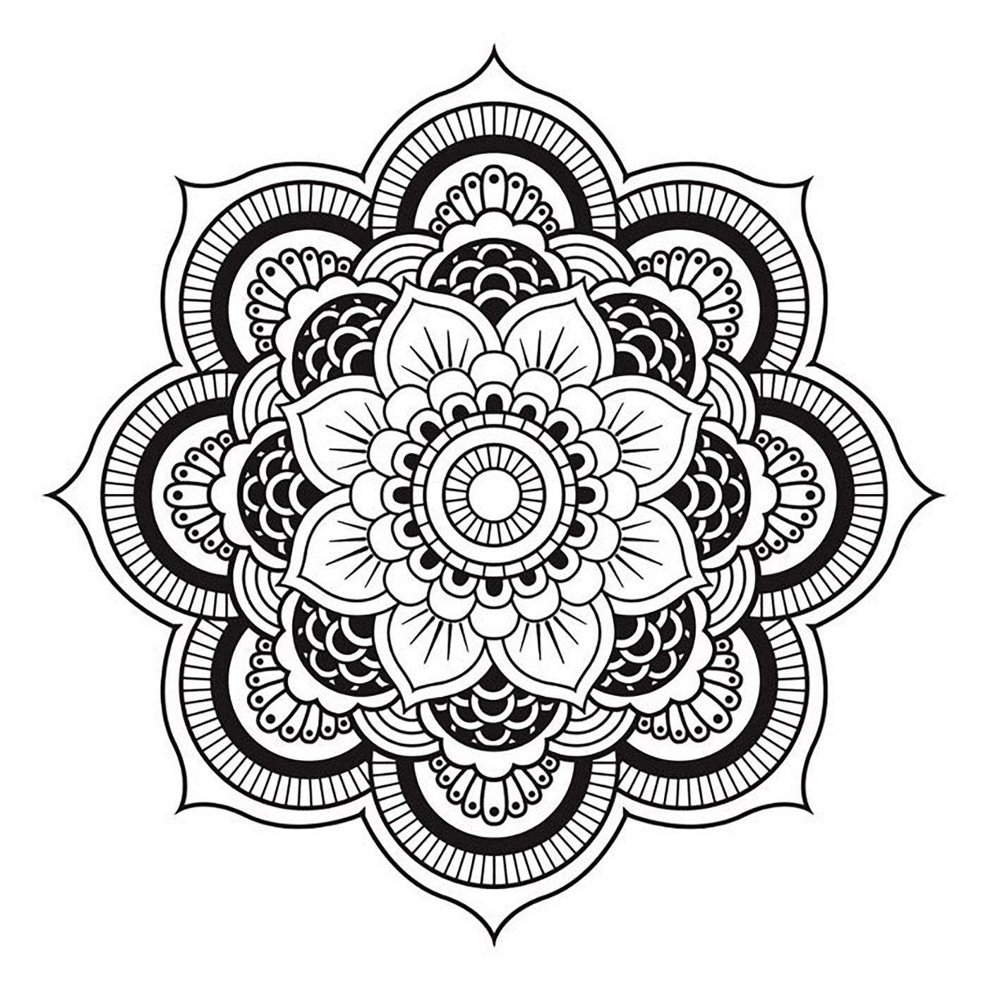 Mandala A Telecharger Et Colorier Fleur - Coloriage Mandalas concernant Mandala Facile À Imprimer