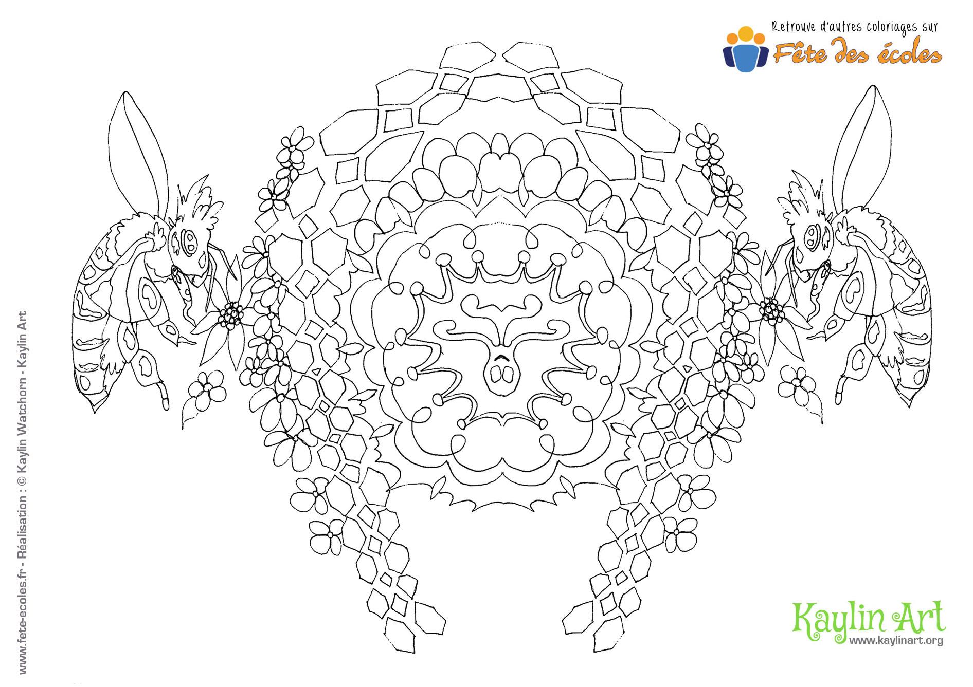 Mandala Abeilles Qui Butinent intérieur Jeux De Coloriage De Rosace