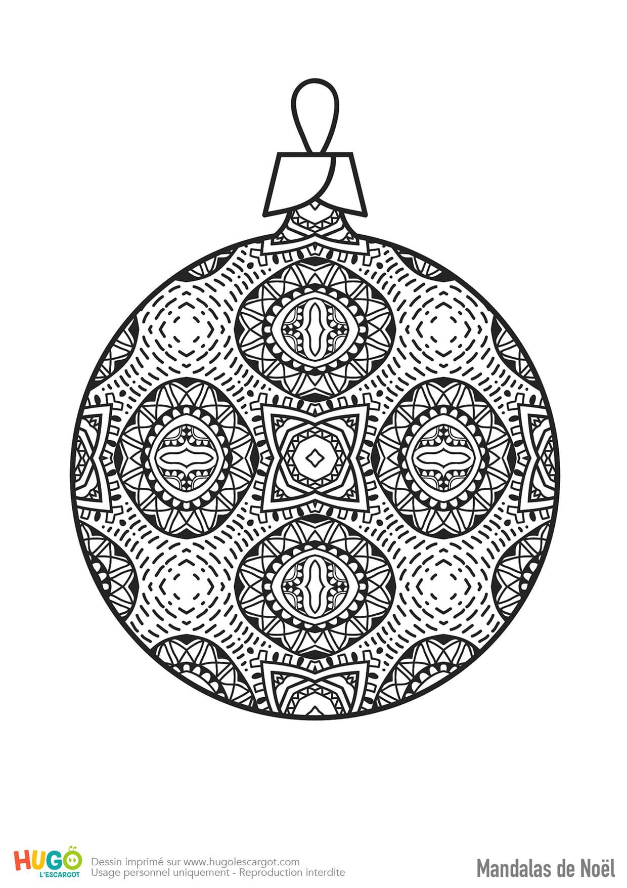 Mandala Boule De Noël avec Dessin Symétrique A Imprimer
