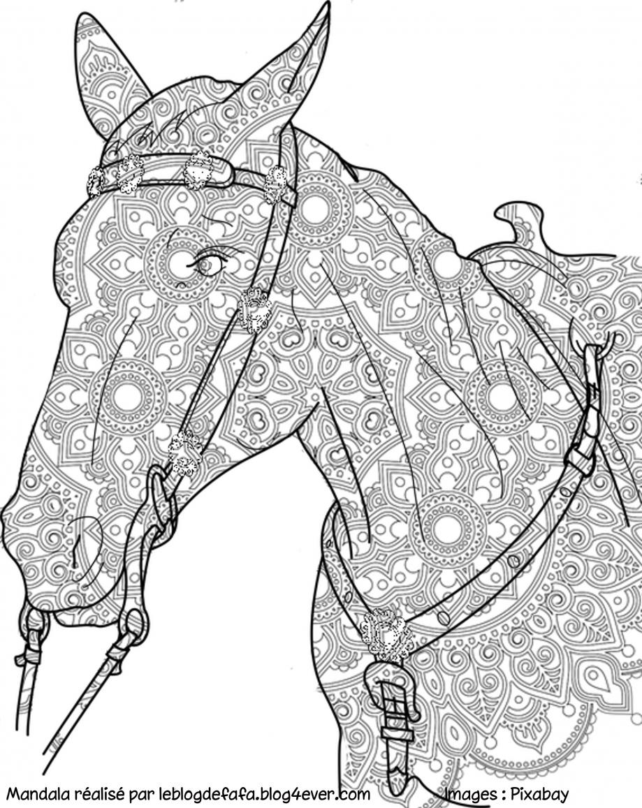 Mandala Cheval Gratuit À Imprimer Et À Partager - Le Blog destiné Dessin De Cheval A Colorier