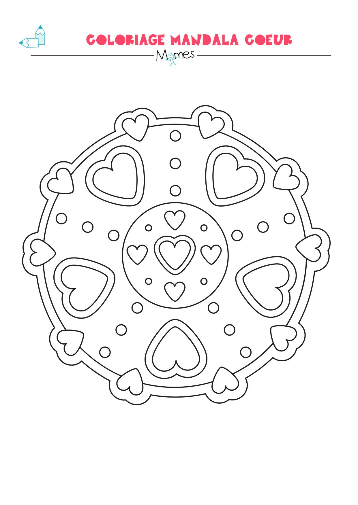 Mandala Coeur À Colorier (Facile) - Momes serapportantà Mandala À Imprimer Facile