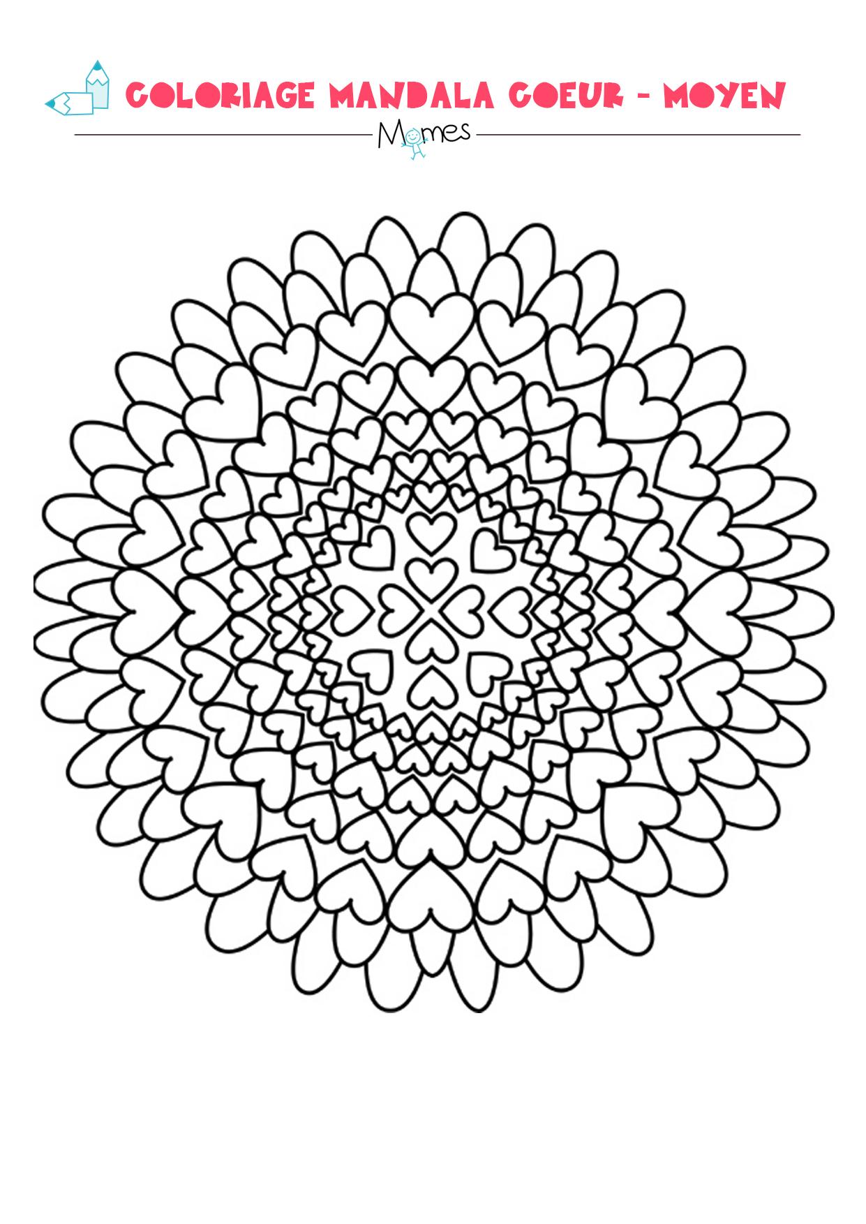 Mandala Coeur À Colorier - Facile - Momes tout Jeux De Coloriage De Rosace