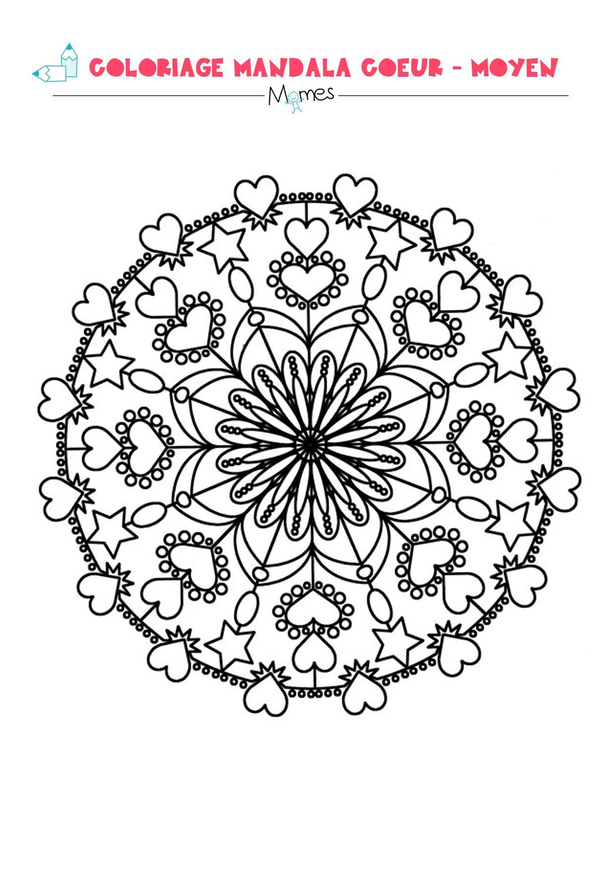 Mandala Coeur À Colorier - Moyen | Mandala Coeur, Coeur À pour Jeux De Coloriage De Rosace