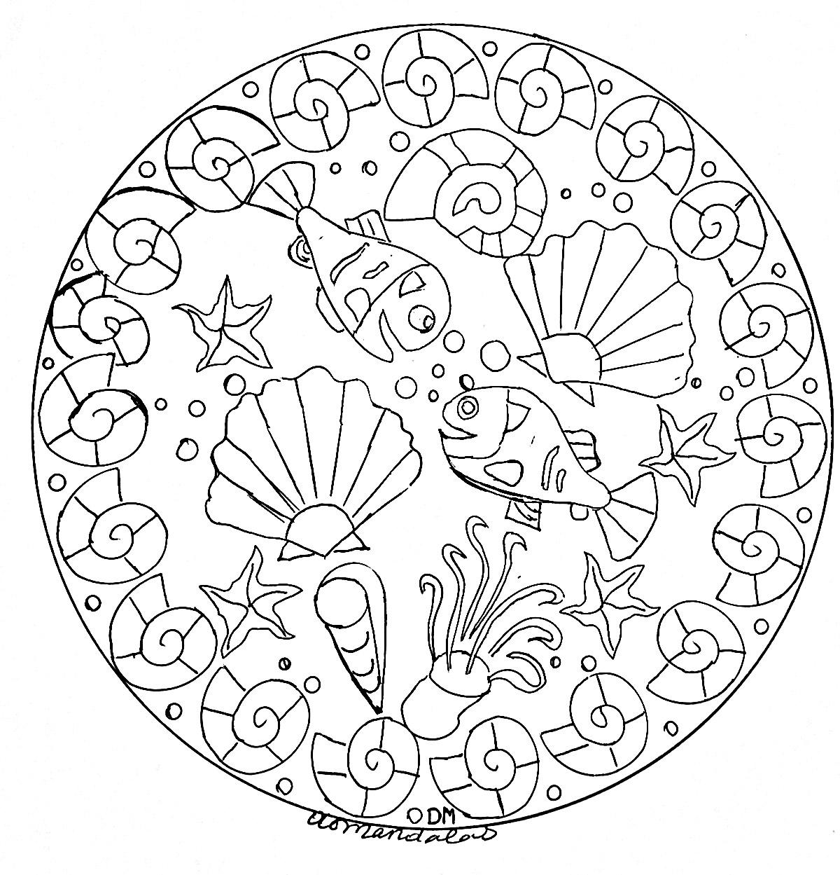 Mandala Coquillages Et Crustacés - Mandalas Sur Le Thème Des concernant Coloriage Sur La Mer À Imprimer