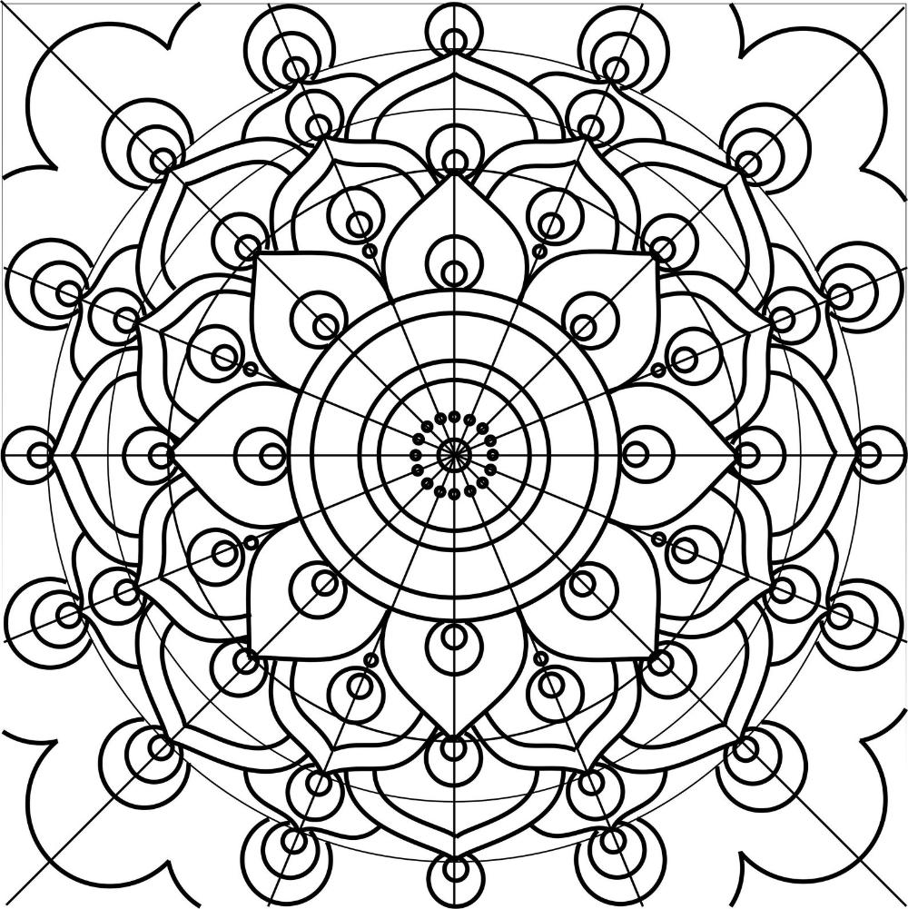 Mandala Drawing Scheme. Digital Template And Design. Acrylic à Dessiner Un Mandala