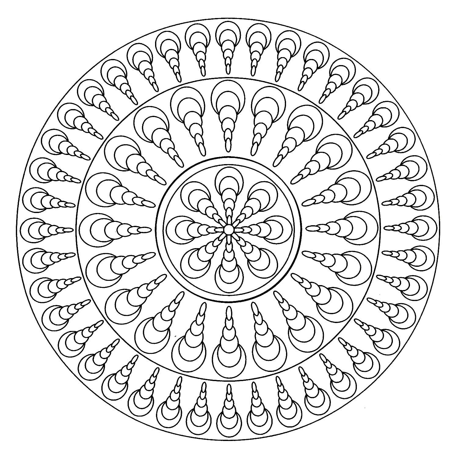 Mandala Facile 4 - Mandalas - Coloriages Difficiles Pour Adultes tout Mandala Facile À Imprimer