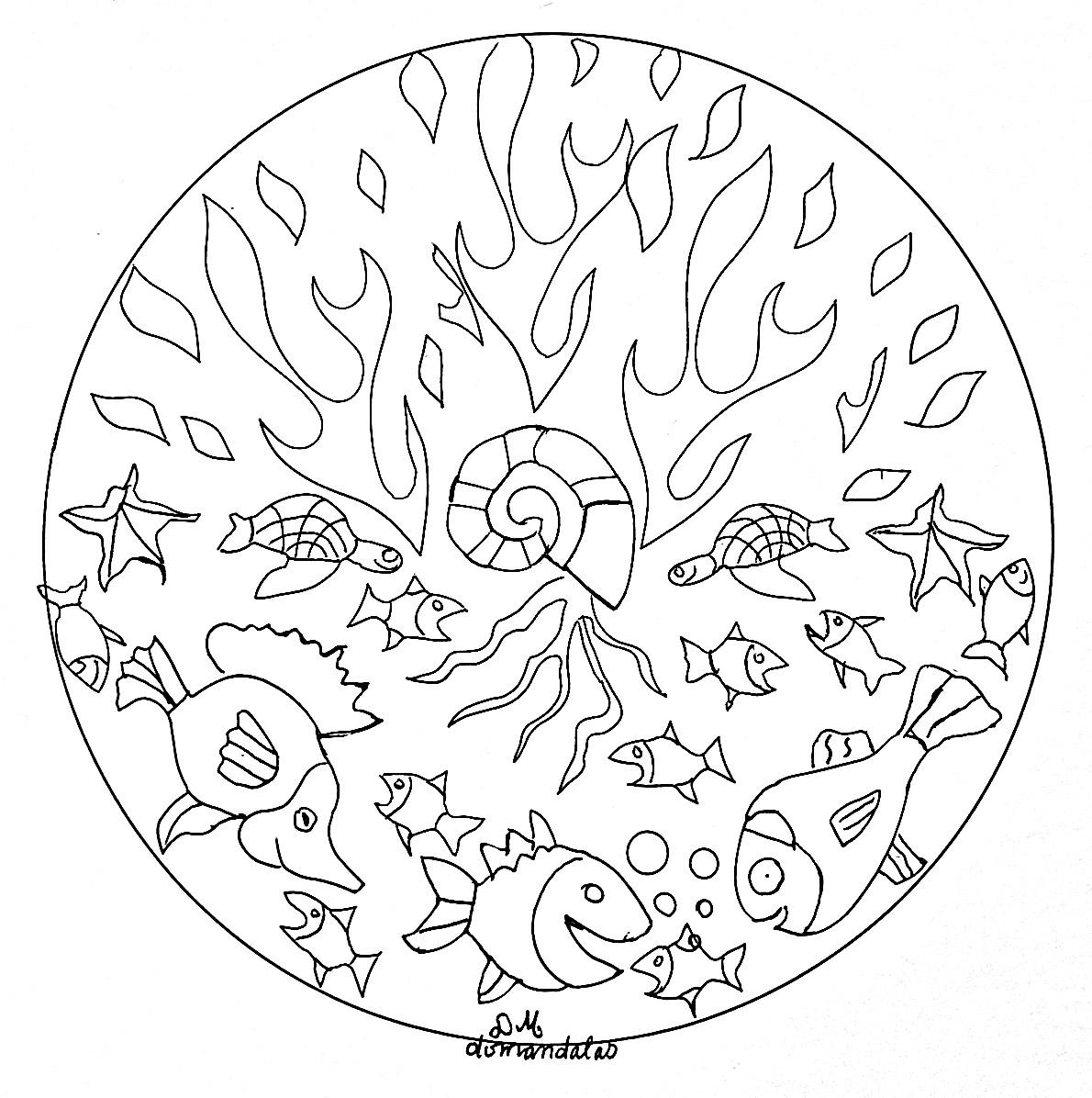 Mandala Facile Des Fonds Marins - Mandalas Sur Le Thème Des encequiconcerne Coloriage Sur La Mer À Imprimer