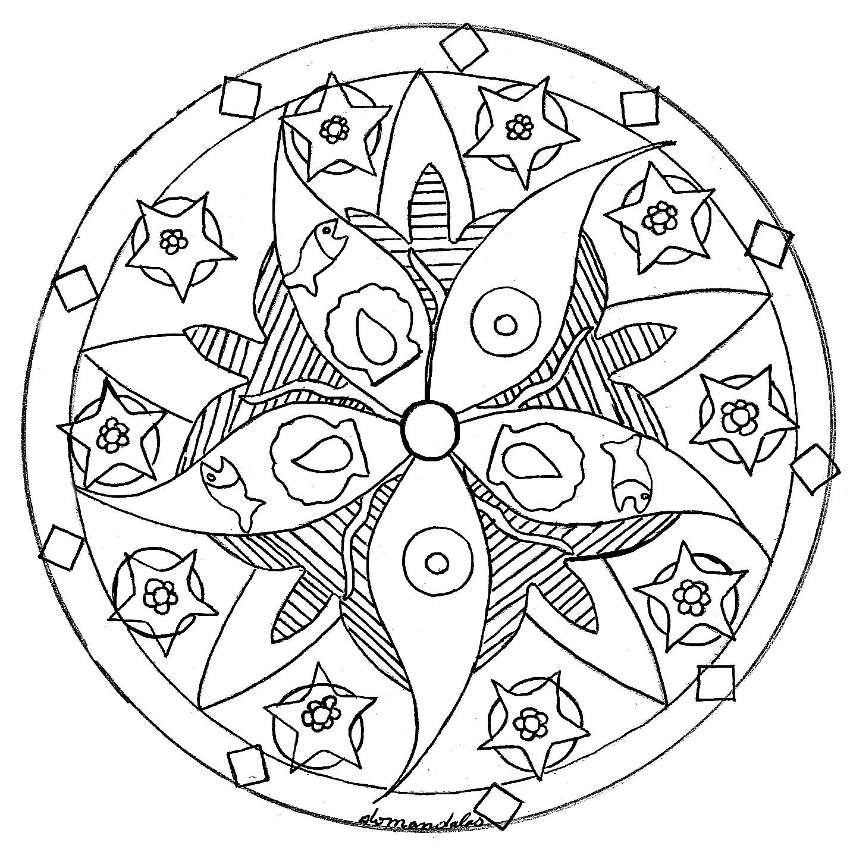 Mandala Facile Etoile De Mer Poissons - Coloriage Mandalas intérieur Mandala Facile À Imprimer