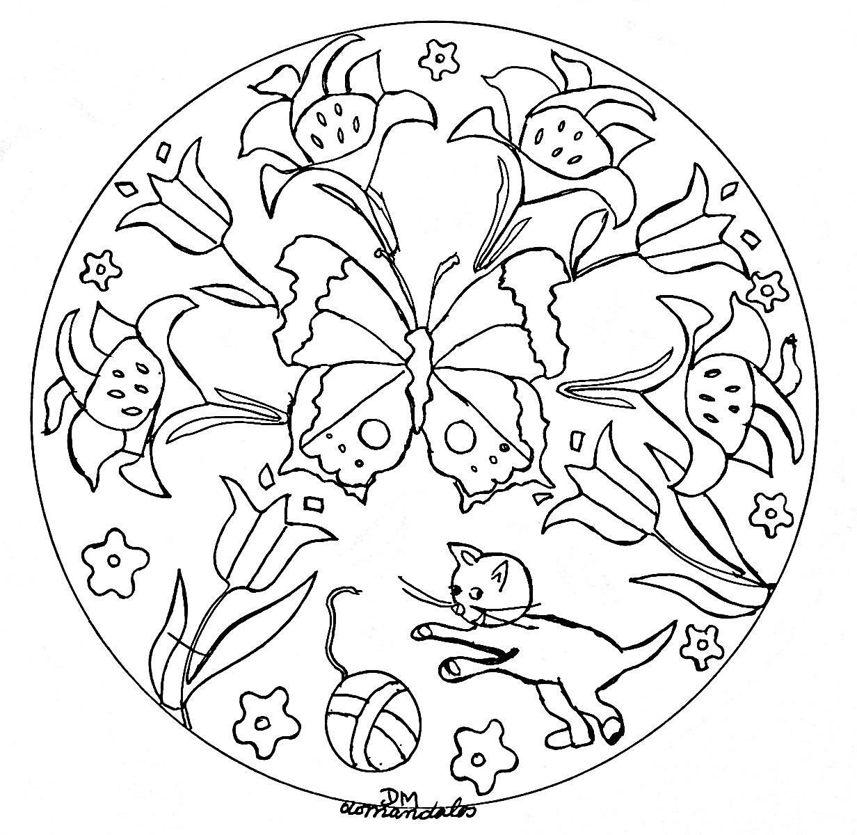 Mandala Facile Papillons Et Fleurs - Coloriage Mandalas encequiconcerne Mandala À Imprimer Facile