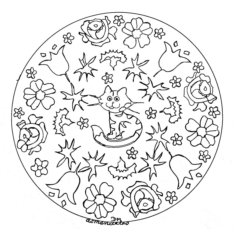Mandala Facile Petit Chat Et Fleurs - Coloriage Mandalas destiné Mandala À Imprimer Facile