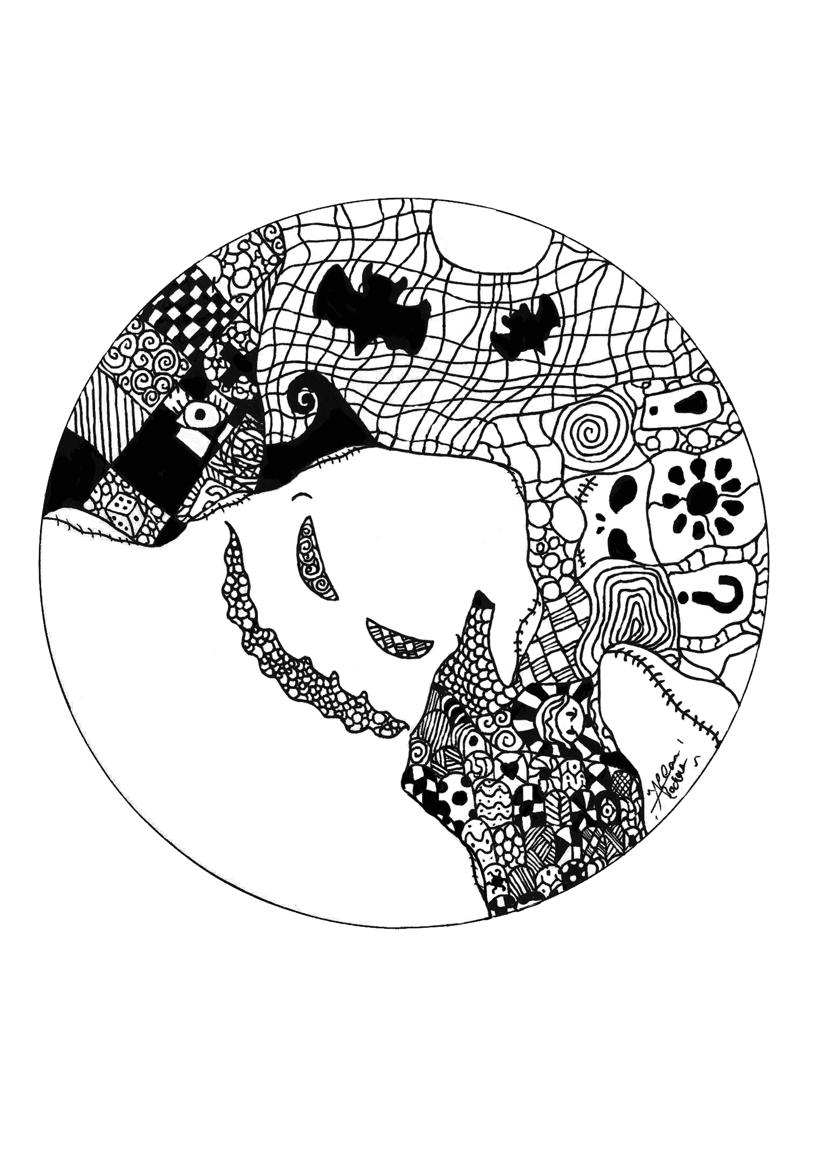 Mandala Fantome - Coloriage Mandalas - Coloriages Pour Enfants destiné Coloriage De Mandala Difficile A Imprimer