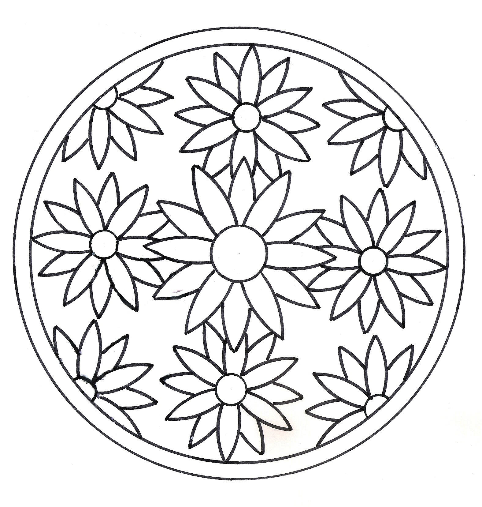 Mandala Fleurs Facile - Le Mandala avec Mandala À Imprimer Facile