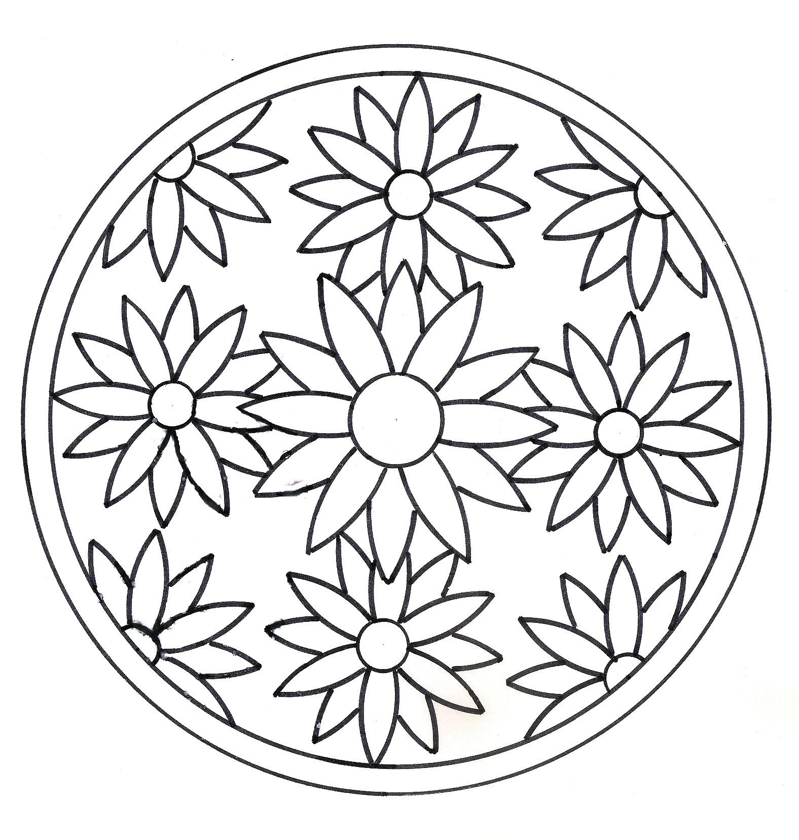 Mandala Fleurs Facile - Le Mandala intérieur Mandala Facile À Imprimer