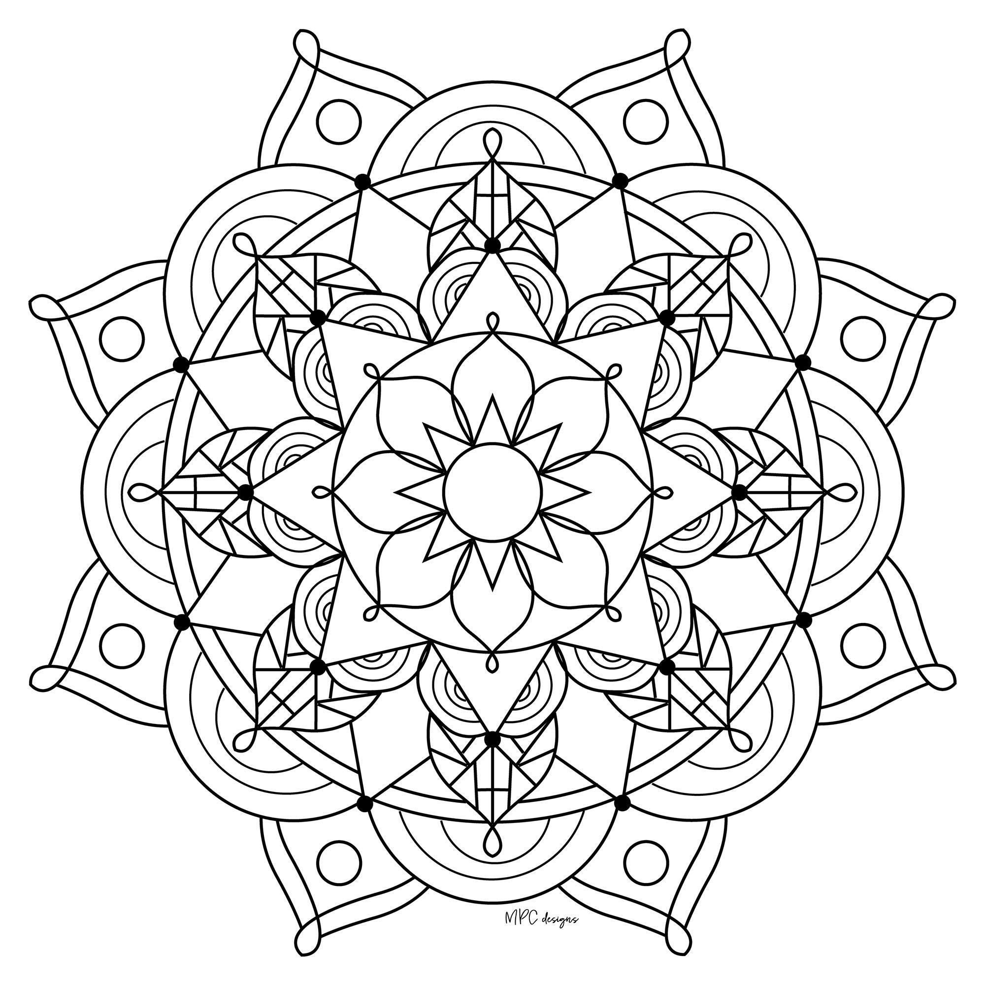 Mandala Gratuit Mpc Design 9 - Coloriage Mandalas pour Mandala À Colorier Et À Imprimer Gratuit