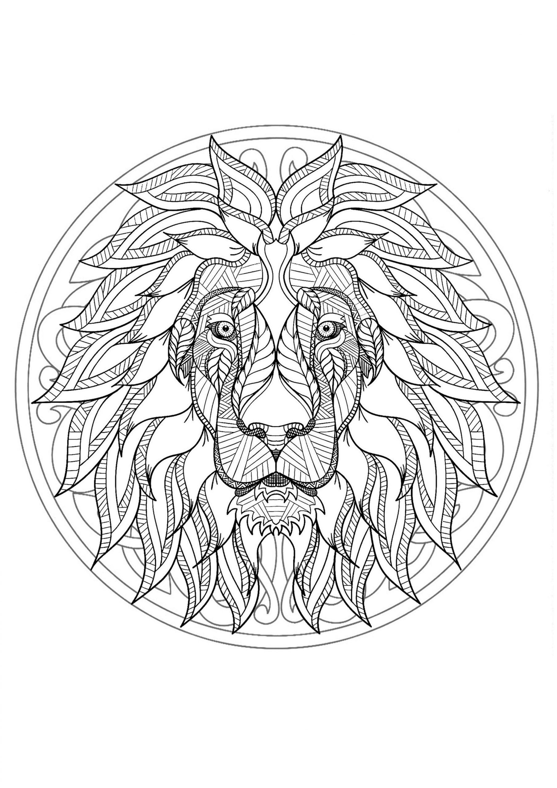 Mandala Gratuit Tete Lion - Coloriage Mandalas - Coloriages avec Mandala À Colorier Et À Imprimer Gratuit