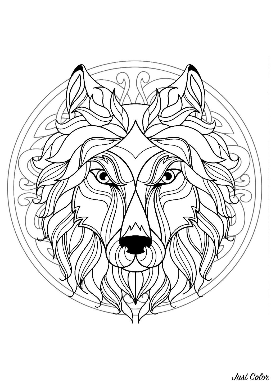 Mandala Gratuit Tete Loup - Coloriage Mandalas - Coloriages tout Jeux De Coloriage De Rosace