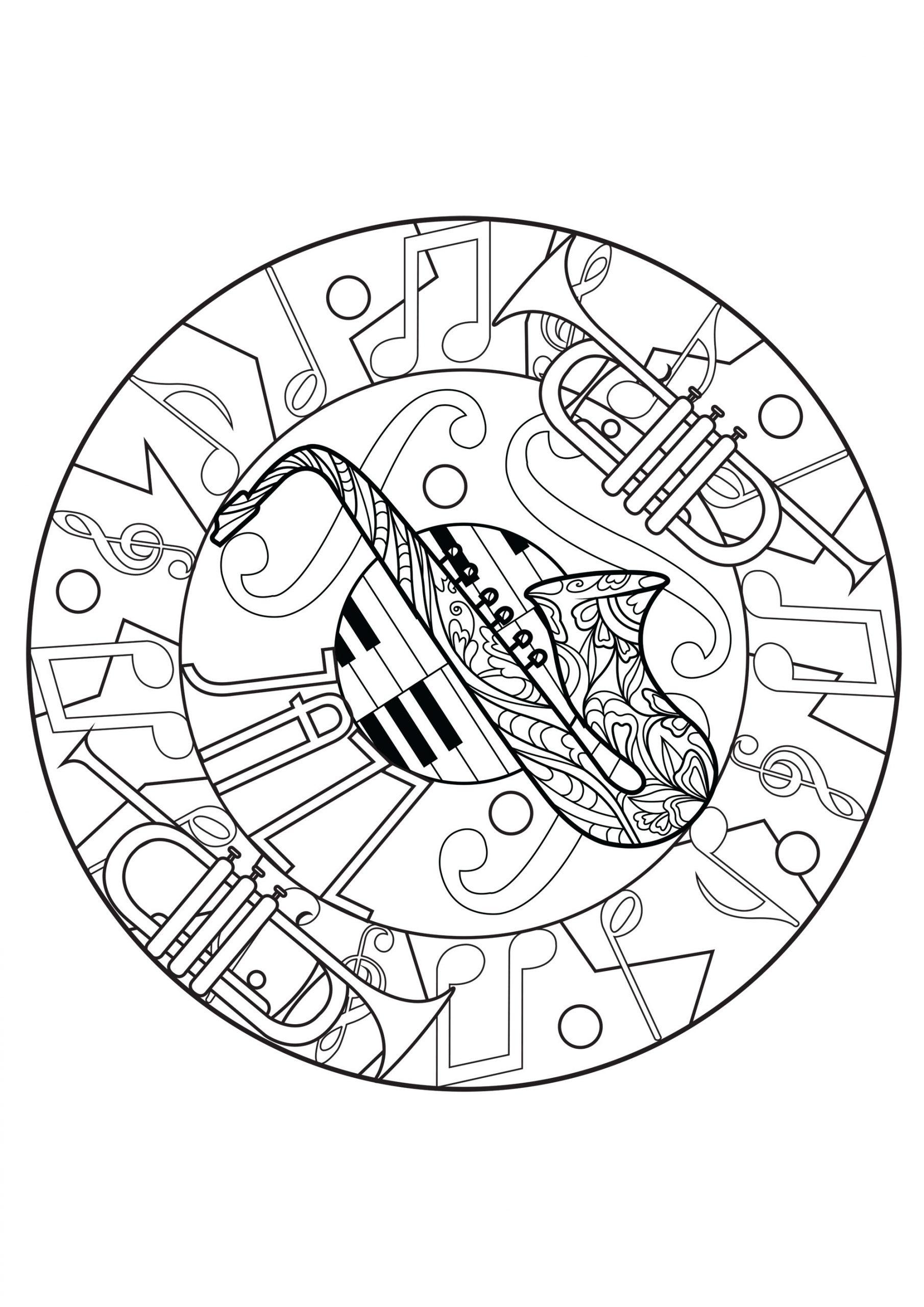 Mandala Harmonieux De Jazz - Mandalas - Coloriages avec Trompette À Colorier