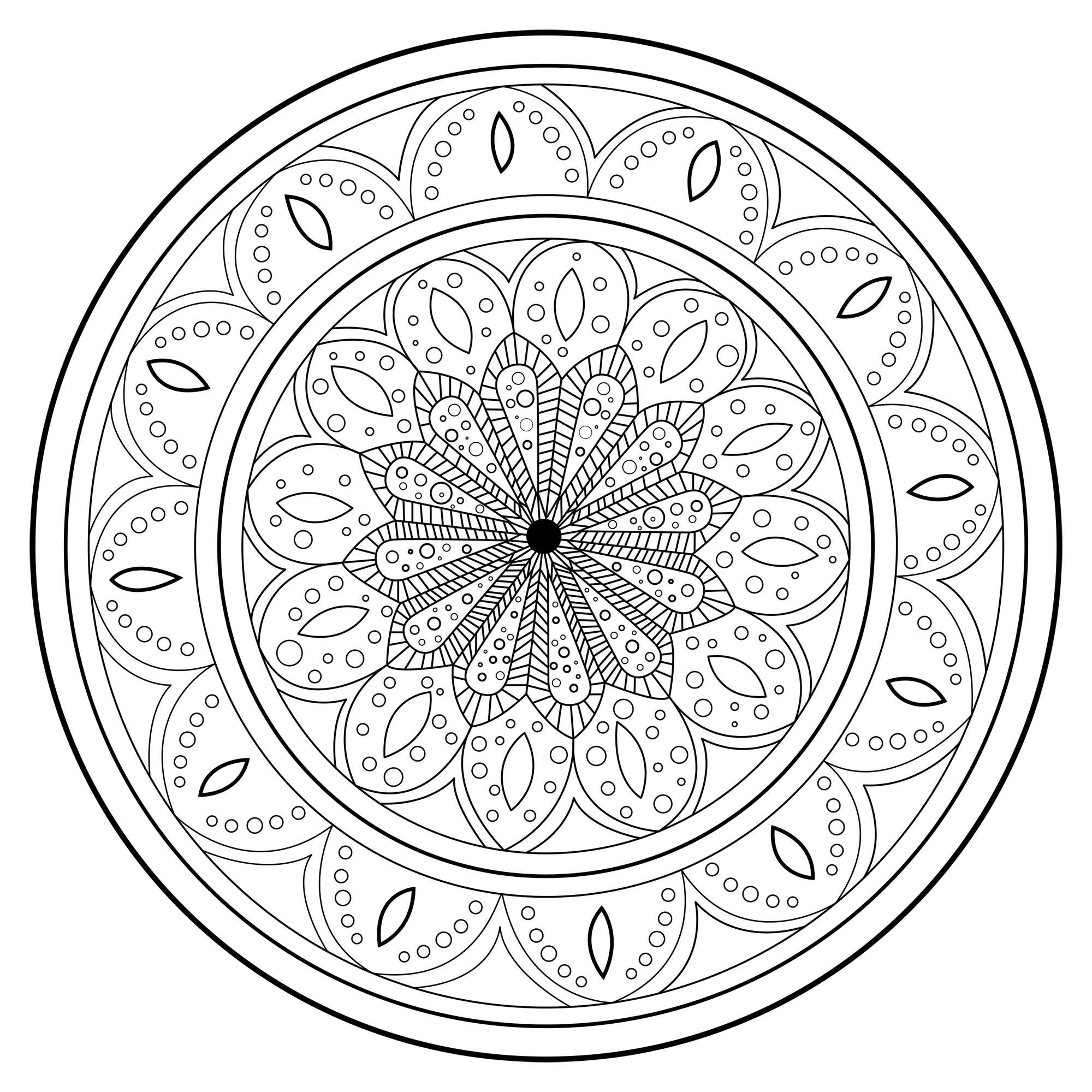 Mandala Magique Et Complexe - Mandalas Difficiles (Pour destiné Coloriage Magique Dur