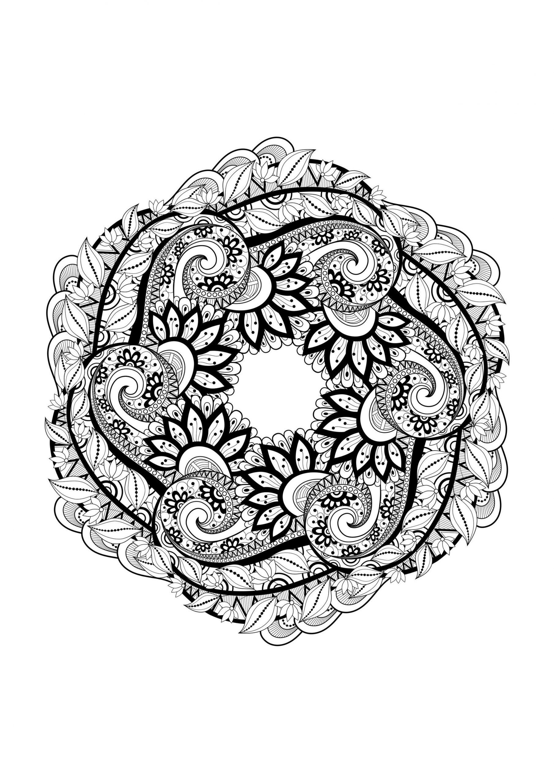 Mandala Magnifique - Coloriage Mandalas - Coloriages Pour encequiconcerne Coloriage De Mandala Difficile A Imprimer