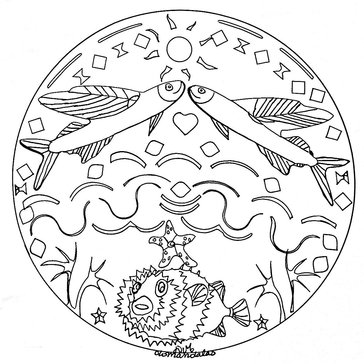 Mandala Poisson En Mer 2 - Mandalas - Coloriages Difficiles tout Coloriage Sur La Mer À Imprimer