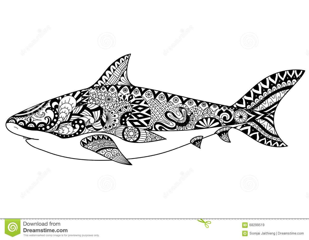 Mandala Requin - Recherche Google   Requin, Art Design, Mandala à Coloriage Requin Blanc Imprimer