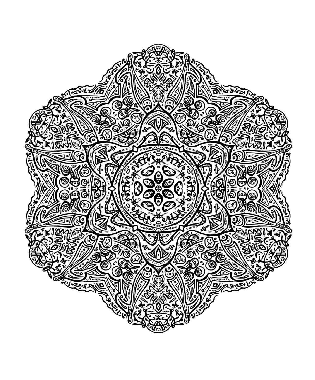 Mandala Ultra Détaillé Et Fin - Mandalas Très Difficiles pour Coloriage De Mandala Difficile A Imprimer