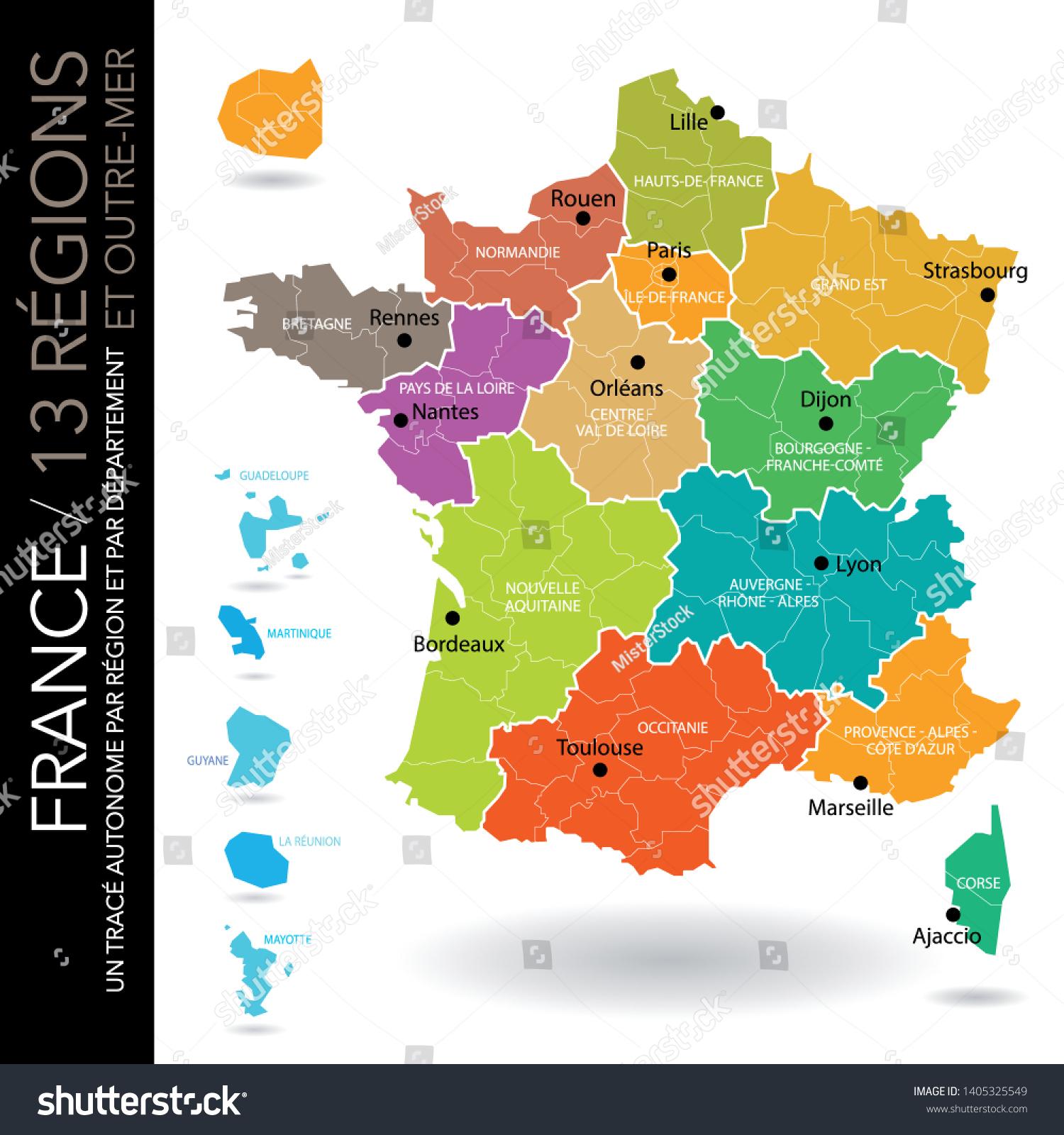Map 13 French Regions 5 Overseas Stok Vektör (Telifsiz intérieur Les 13 Régions
