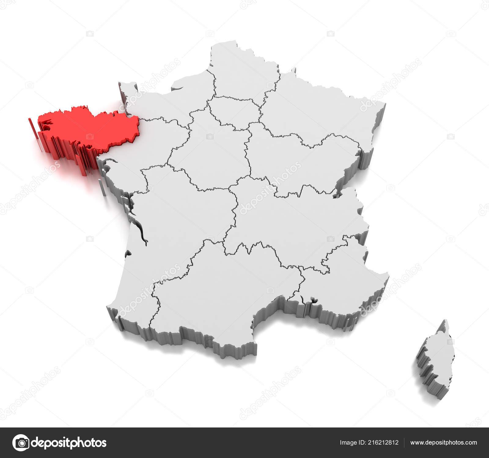 Map Brittany Region France — Stock Photo © Md3D #216212812 avec Carte De Region France