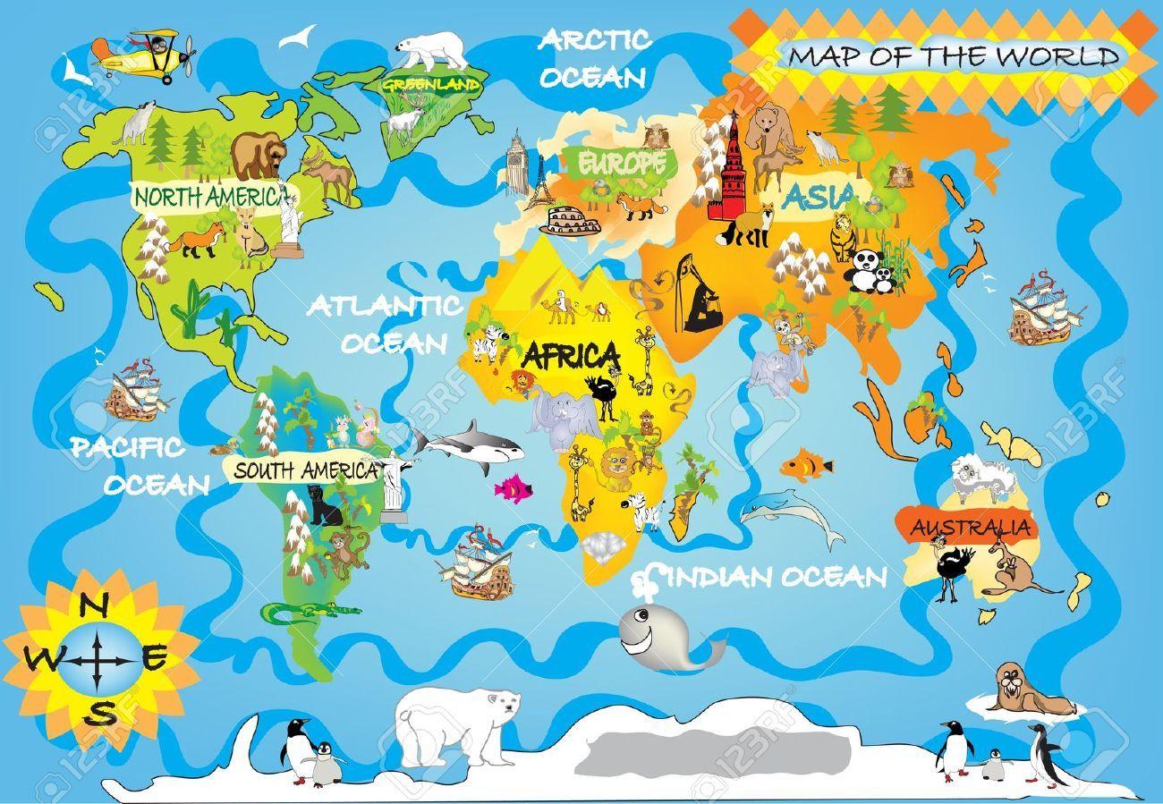 Map Cartoon Images | Carte Du Monde Enfant, Carte Du Monde à Carte Du Monde Pour Enfant