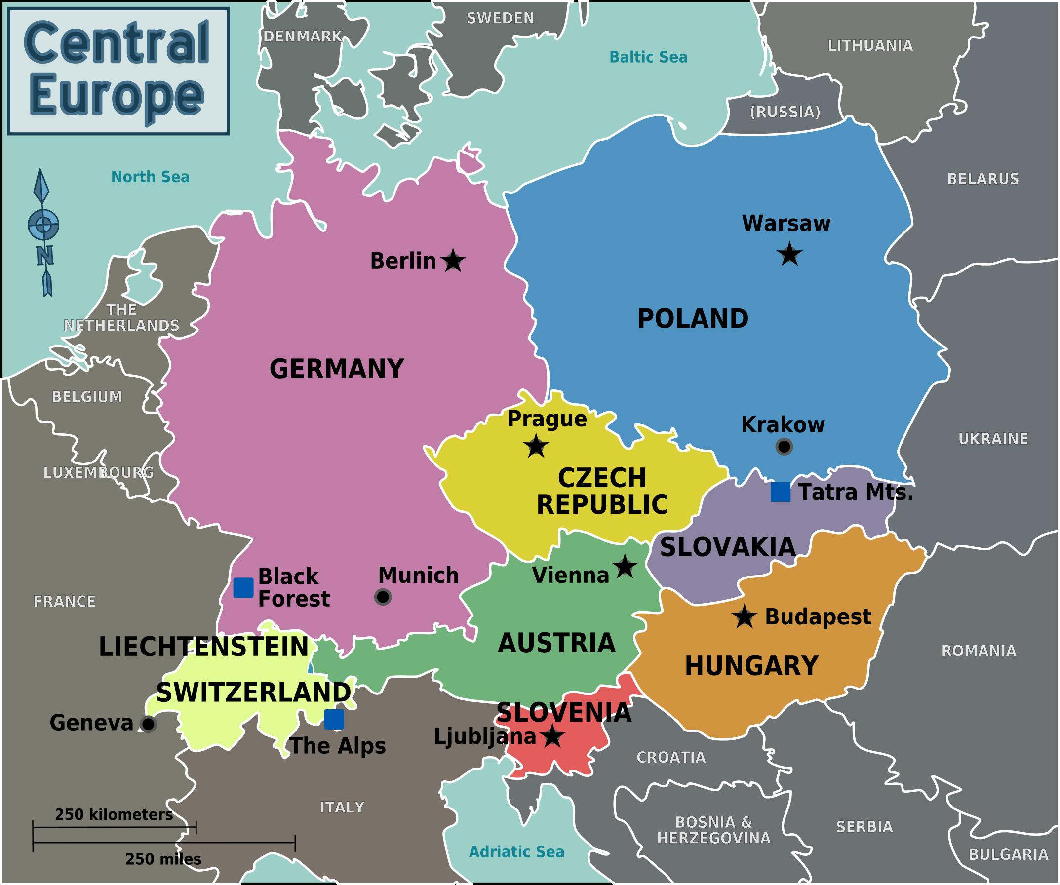 Map Of Central Europe With Capitals For Each Country intérieur Carte Europe De L Est