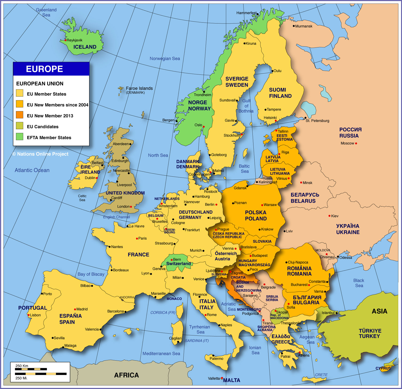 Map Of Europe - Member States Of The Eu - Nations Online Project destiné Carte D Europe Capitale