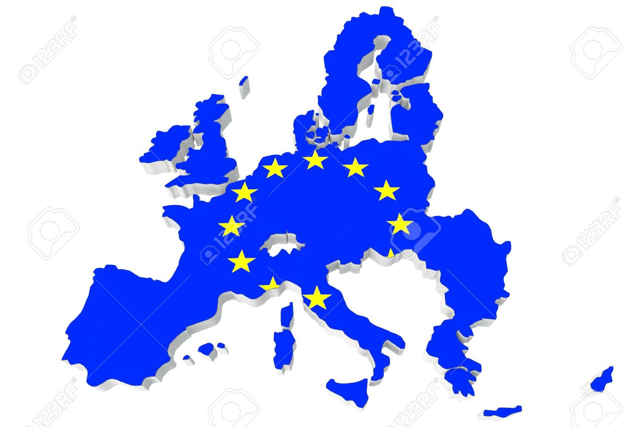 Map Of European Union And Eu Flag On A White Background serapportantà Carte Union Europeene