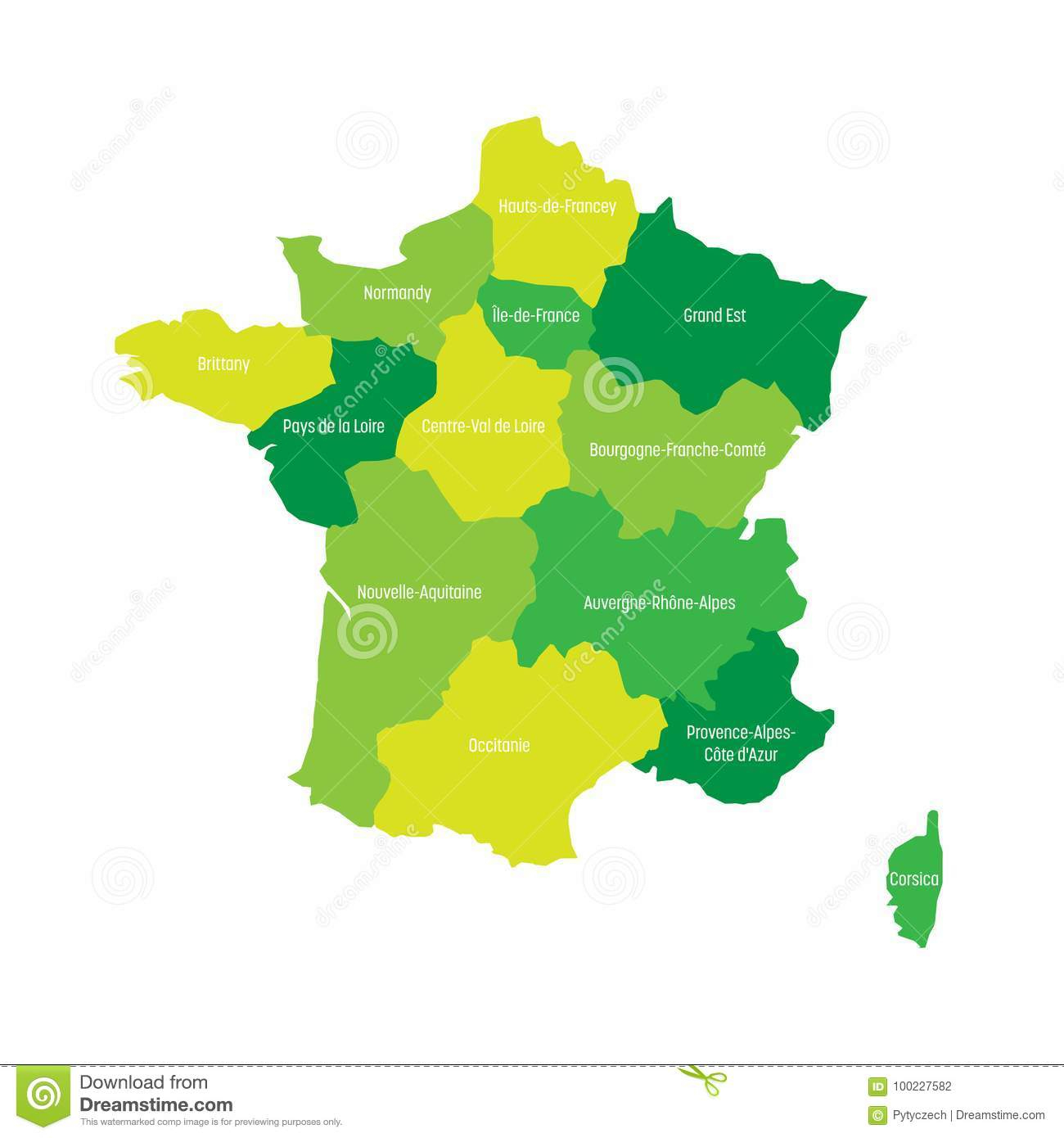 Map Of France Divided Into 13 Administrative Metropolitan pour 13 Régions Françaises