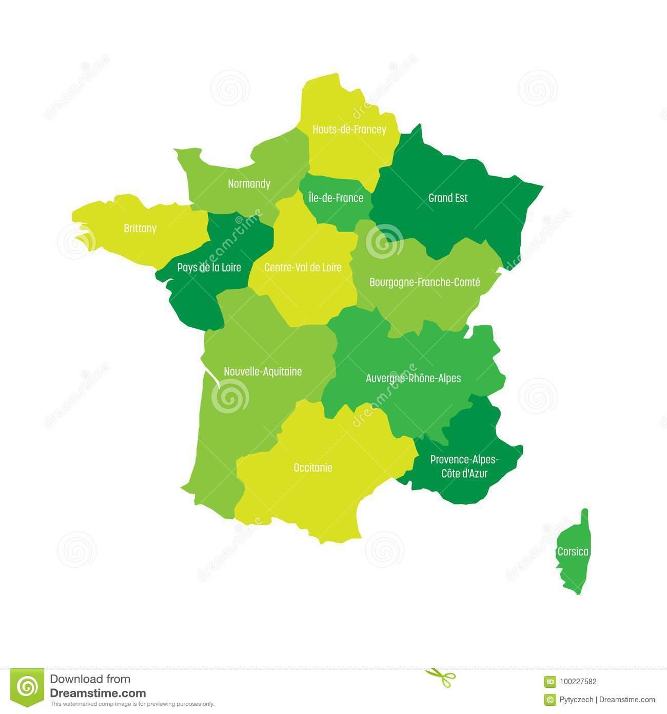 Map Of France Divided Into 13 Administrative Metropolitan pour Les 13 Régions