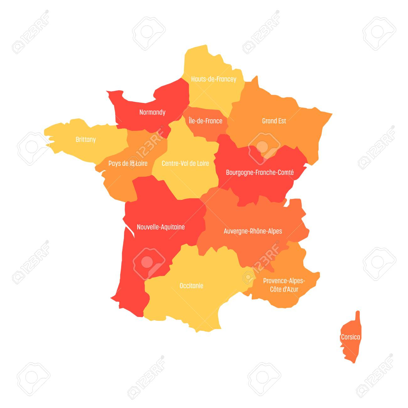 Map Of France Divided Into 13 Administrative Metropolitan Regions, Since  2016. Warm Colors. Vector Illustration. serapportantà Les 13 Régions