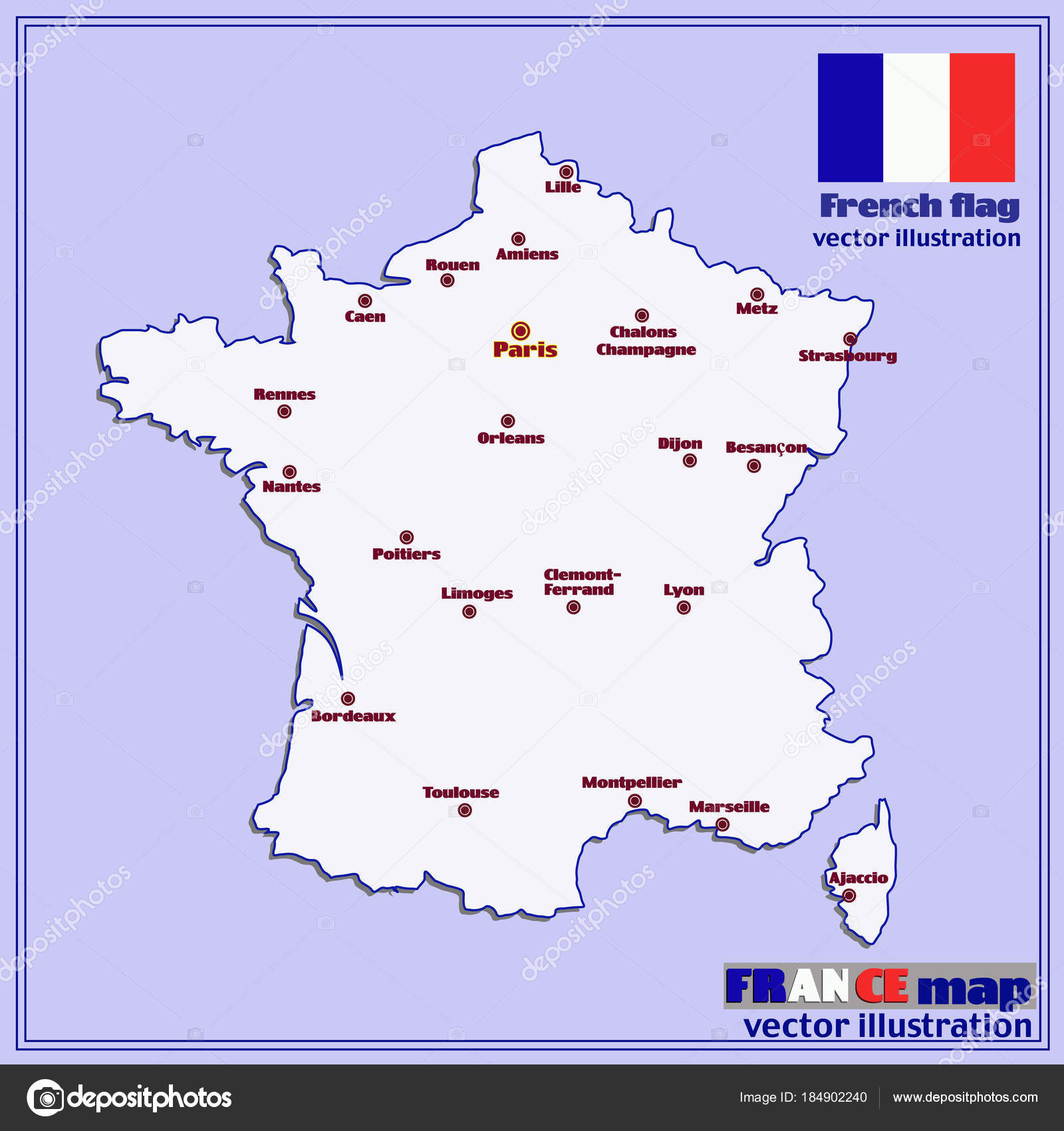 Map Of France With Big Cities. Vector. — Stock Vector concernant Carte De La France Avec Ville