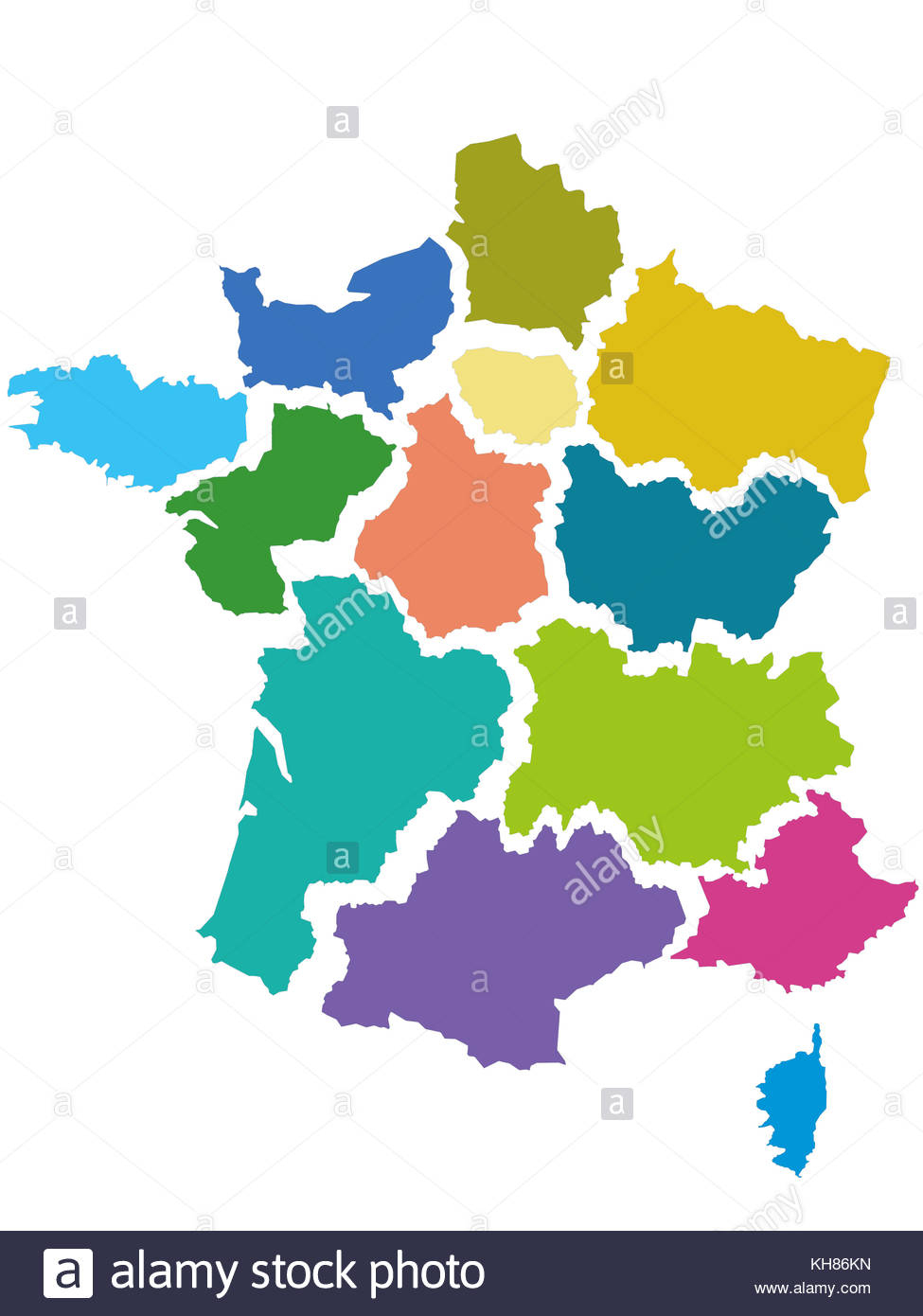 Map Of France With The 13 Regions, Adopted By The Assemblee destiné Les 13 Régions