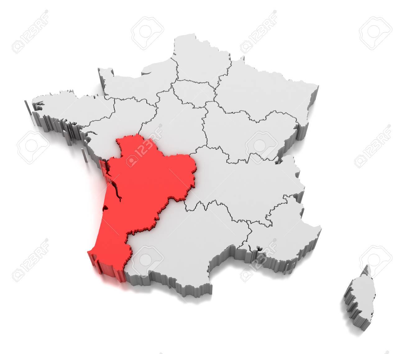 Map Of Nouvelle Aquitaine Region, France pour Carte De France Nouvelle Region