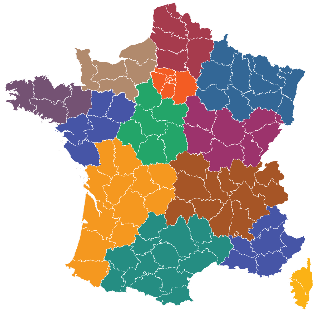 Maps Of The Regions Of France intérieur Départements Et Régions De France