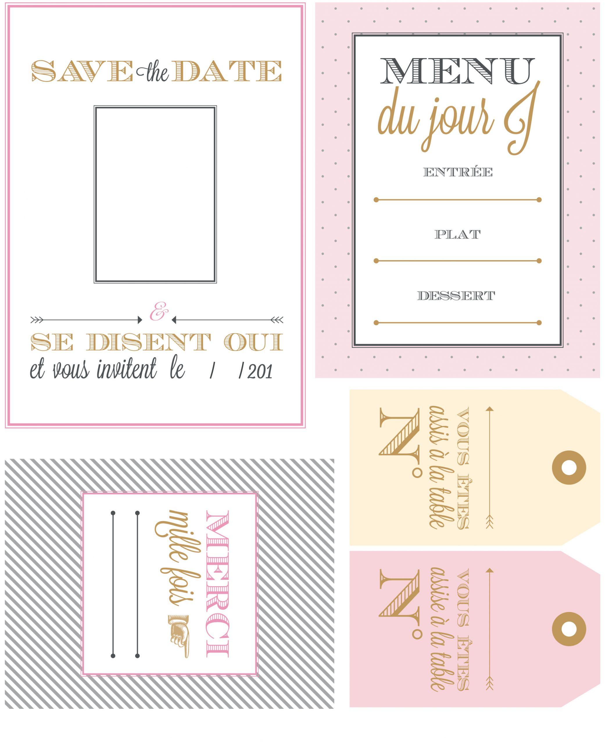Mariage : Invitations, Menus Et Marque-Places Gratuits pour Marque Page Gratuit À Imprimer
